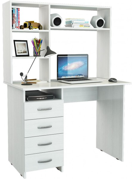 Белый письменный стол Милан с надставкой
