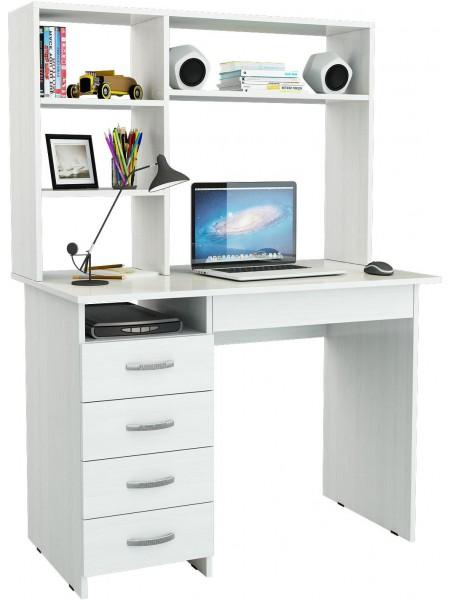 Белый письменный стол Милан-1 с надставкой