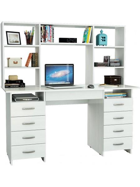 Белый письменный стол Милан-10Я с надставкой