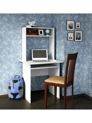 Белый письменный стол Милан-2П с надставкой
