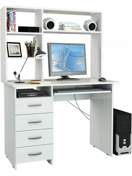 Белый письменный стол Милан-3 с надставкой