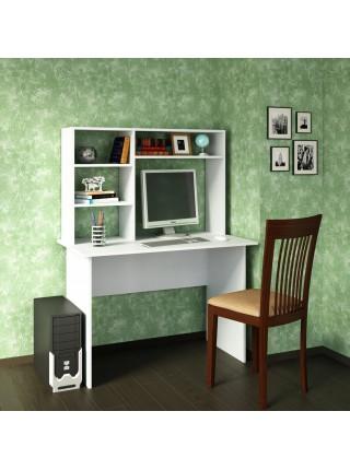 Белый письменный стол Милан-5 с надставкой