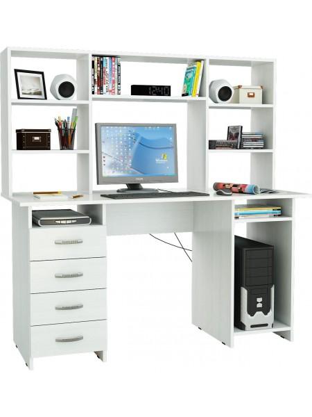 Письменный стол Милан-6 с надставкой Белый