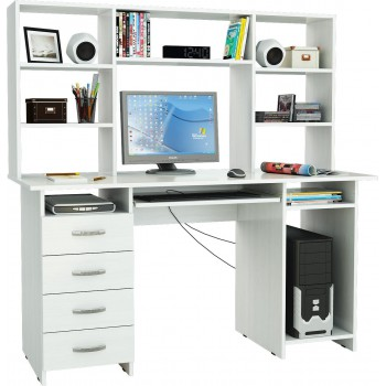 Белый стол Милан-6П с надставкой