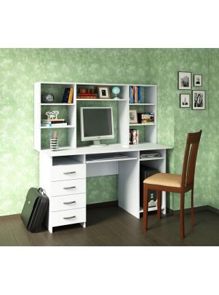 Письменный стол Милан-6П с надставкой Белый