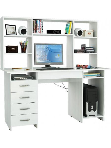 Белый письменный стол Милан-6Я с надставкой