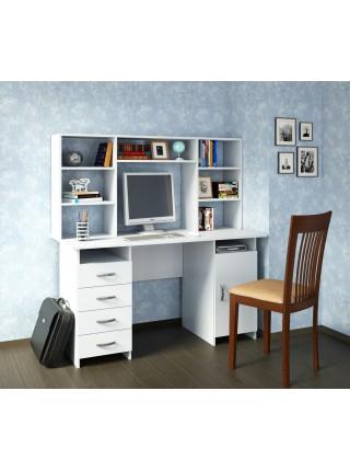 Белый письменный стол Милан-7 с надставкой