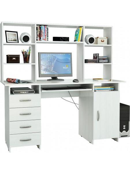 Письменный стол Милан-7П Белый с надставкой