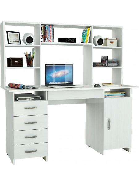 Белый письменный стол Милан-7Я с надставкой