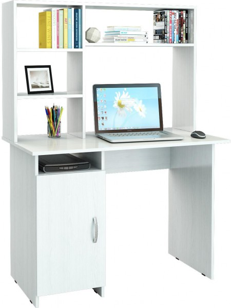 Белый письменный стол Милан-8 с надставкой