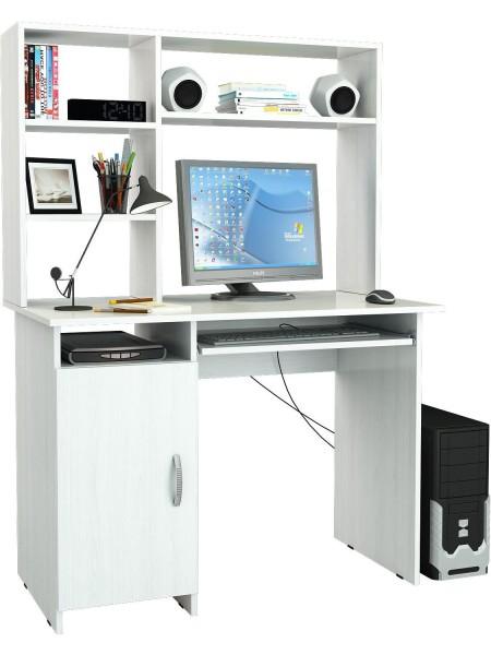 Белый письменный стол Милан-8П с надставкой