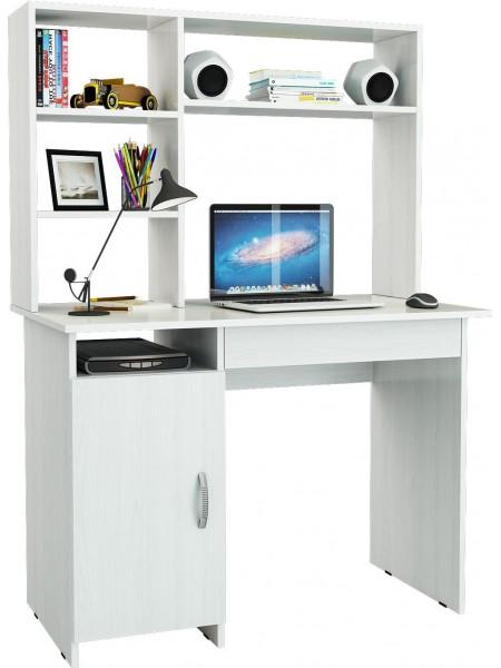 Белый письменный стол Милан-8Я с надставкой