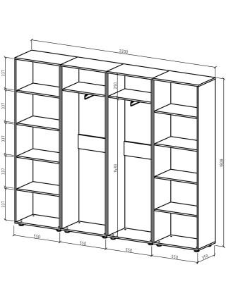 Шкаф Остин-11 бельевой/платяной