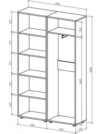 Шкаф Остин-5 бельевой/платяной