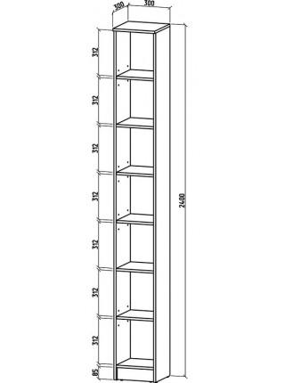 Книжный шкаф-стеллаж Верона-1 300*2400