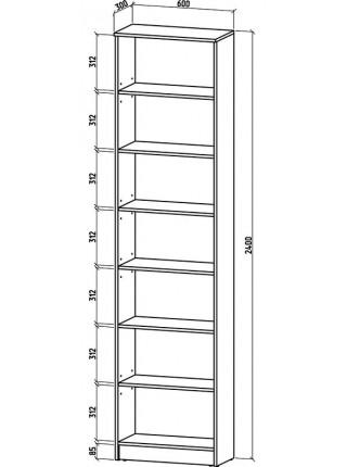 Книжный шкаф-стеллаж Верона-1 600*2400