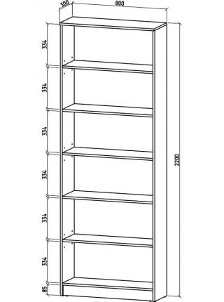 Книжный шкаф-стеллаж Верона-1 800*2200