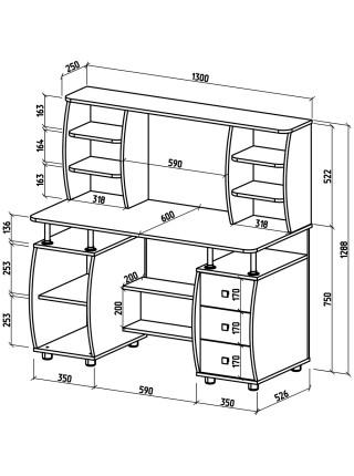 Компьютерный стол Карбон-6