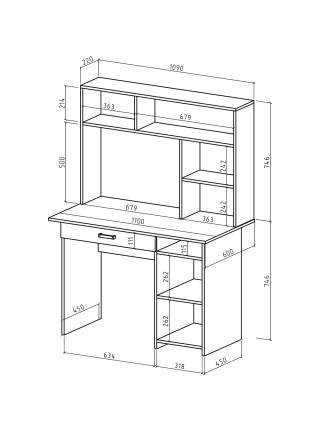 Письменный стол Лайт-3Я с надстройкой