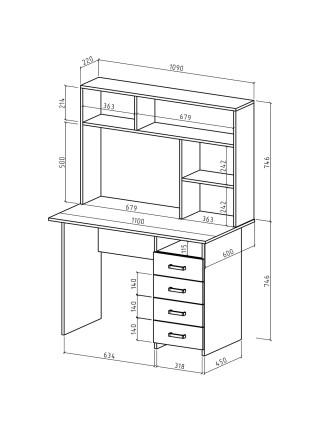 Письменный стол Лайт-5 с надстройкой