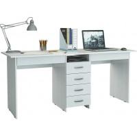 Белый письменный стол на двоих Тандем-2Я