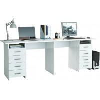 Белый письменный стол на двоих Тандем-3
