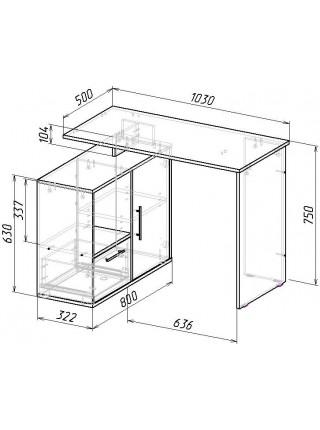 Угловой компьютерный стол Слим-3 правый